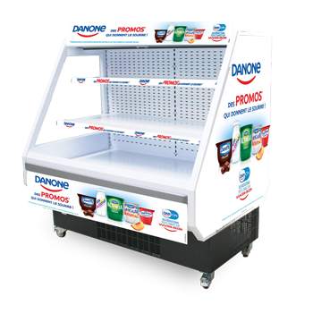 Derby POS wall design graphic marketing communication furniture refrigerated display case refrigerated commercial operations Loca Service